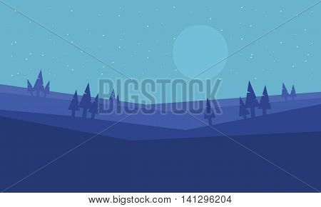 Hill at morning scenery vector art illustration stock
