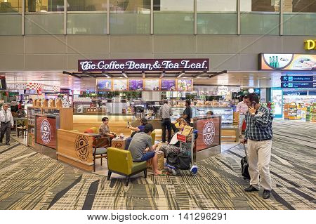 SINGAPORE - CIRCA NOVEMBER, 2015: The Coffee Bean & Tea Leaf at Singapore Changi Airport. Changi Airport  is the primary civilian airport for Singapore.