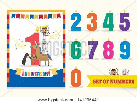one year anniversary kids birthday celebration background with ribbon bunting animals cartoon and numbers template