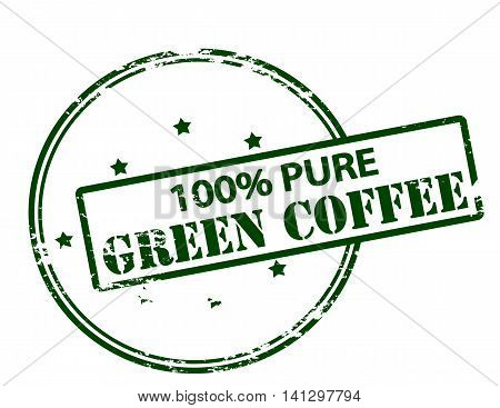Rubber stamp with text one hundred percent pure green coffee inside vector illustration