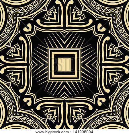 vector illustration texture symmetrical pattern in black on a yellow background elements of geometric figures in the square