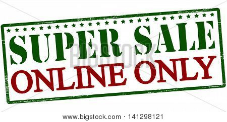 Rubber stamp with text super sale online only inside vector illustration