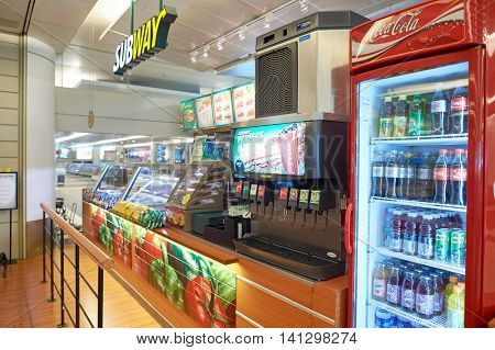 SINGAPORE - CIRCA NOVEMBER, 2015: Subway in Singapore Changi Airport. Subway is an American fast food restaurant franchise that primarily sells submarine sandwiches and salads.