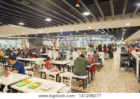 SINGAPORE - CIRCA NOVEMBER, 2015: food court in Singapore Changi Airport. Changi Airport  is the primary civilian airport for Singapore and one of the largest transportation hubs in Southeast Asia.