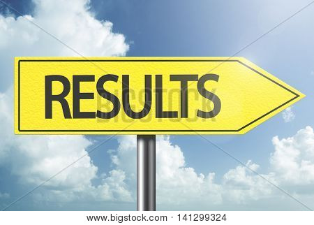 Results yellow sign
