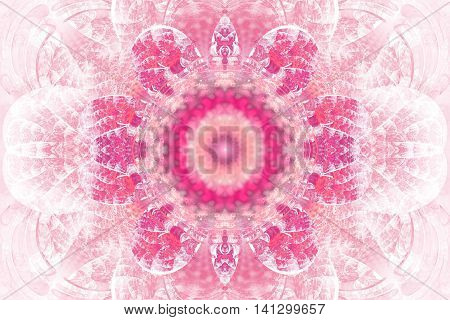 Abstract flower mandala on white background. Intricate symmetrical pattern in pastel rose colors. Fantasy fractal design for posters postcards wallpapers or t-shirts. Digital art. 3D rendering.