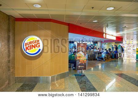 SINGAPORE - CIRCA NOVEMBER, 2015: Burger King in Changi Airport. Changi Airport  is the primary civilian airport for Singapore and one of the largest transportation hubs in Southeast Asia.