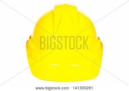 Closeup of yellow protective helmet on white background concept of security and protection at work