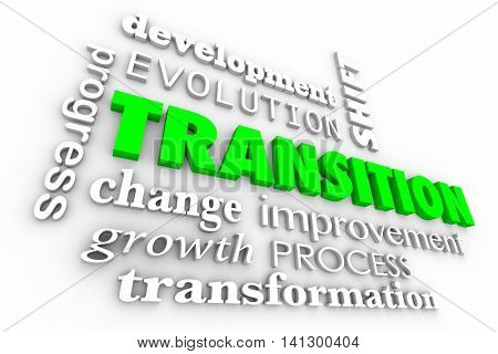 Transition Change Evolution Process Word Collage 3d Illustration