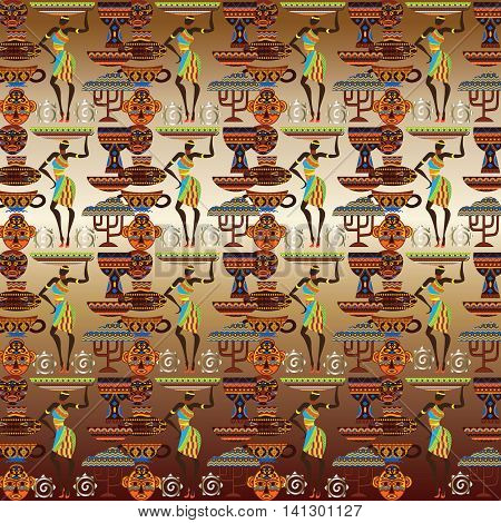 Vector art seamless pattern with African folklore elements. African ornate decor for textile, background. Endless texture.
