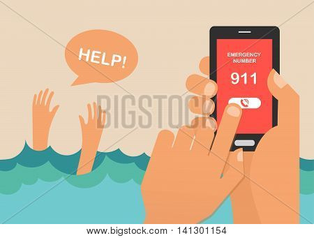 drowning man screaming for help. hands press emergency number 911 on a mobile phone. vector illustration