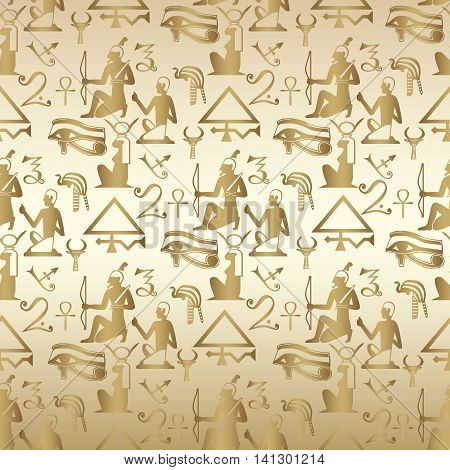 Seamless background with Egyptian pattern. Gold Egyptian hieroglyphs and symbols are on the papyrus.