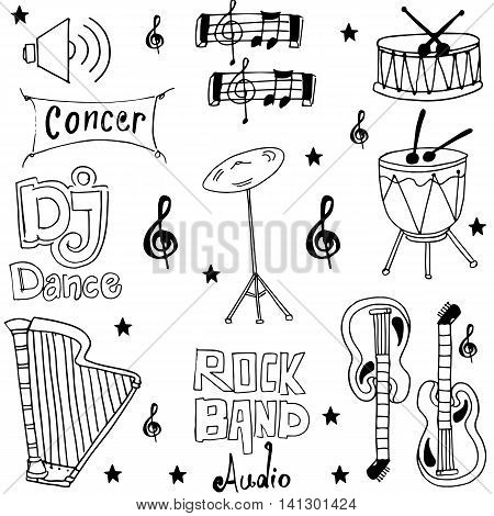 Object music pack doodles stock vector illustration