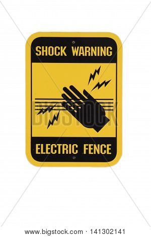 Shock warning sign at electric fence. Yellow and black in white background