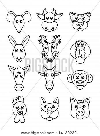 Set chinese zodiac animal contour icons. Vector illustration.