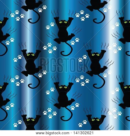 Black cat vector seamless pattern.Black cat with green eyes hanging on the blue curtains. Funny decor for textile, texture, web page background.