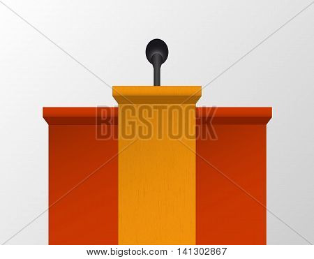 Vector speech table used during conferences. Simple podium with microphone.