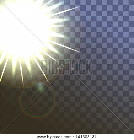 shiny sun vector, sunbeams, sunrays, Vector modern sun on sample background. sunshine design. Yellow warm light effect, sun rays, beams on transparent background.