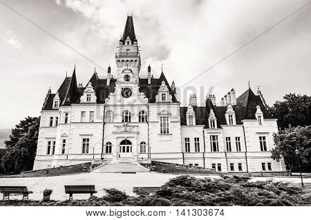 Beautiful Budmerice castle in Slovak republic. Black and white photo. Architectural theme. Travel destination. Cultural heritage. Beautiful place.