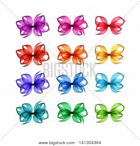 Vector Set of Colored Bright Light Blue Green Emerald Yellow Orange Red Scarlet Pink Magenta Purple Gift Bows of Different Shapes Close up Isolated on White Background
