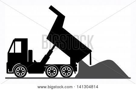 Dump truck on white background, vector illustration