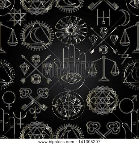 Vector dark seamless pattern background with golden magic alchemy symbols and signs.Elegant luxury texture for backgrounds and page fill. 3D elements with shadows and highlights.