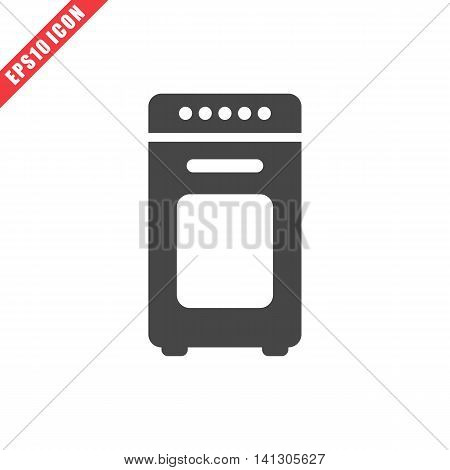 Vector illustration of oven icon on white background. Simple black kitchenware image