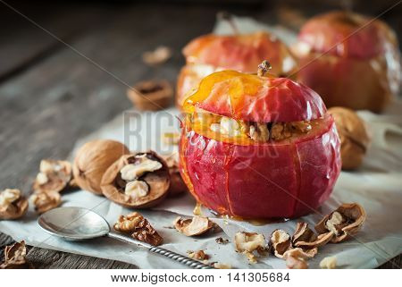 Red Baked Apples Stuffed Cottage Cheese Walnuts Honey Healthy Diet Food