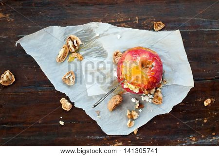 Baked Apple Walnuts Honey Wooden Table