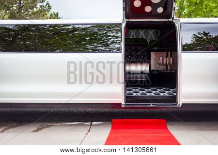White Limousine With Inviting Open Door
