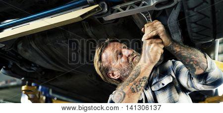 Garage Adjustment Repair Car Motor Vehicle Concept