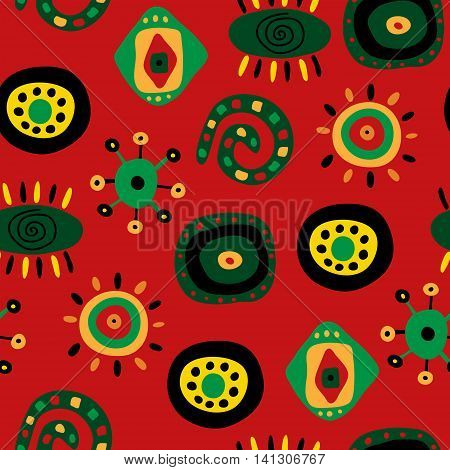 Seamless pattern with a bright fun ethnic pattern