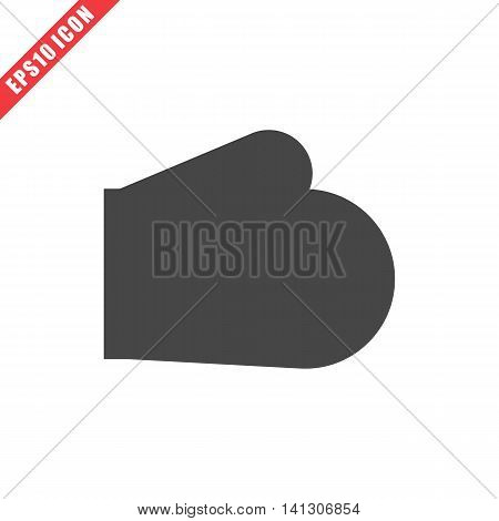 Vector illustration of baking glove icon on white background. Simple black kitchenware image