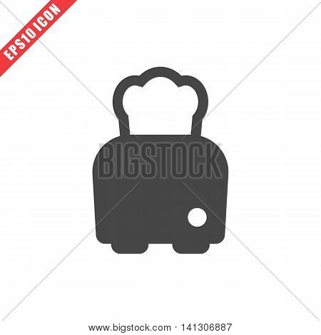 Vector illustration of toaster icon on white background. Simple black kitchenware image