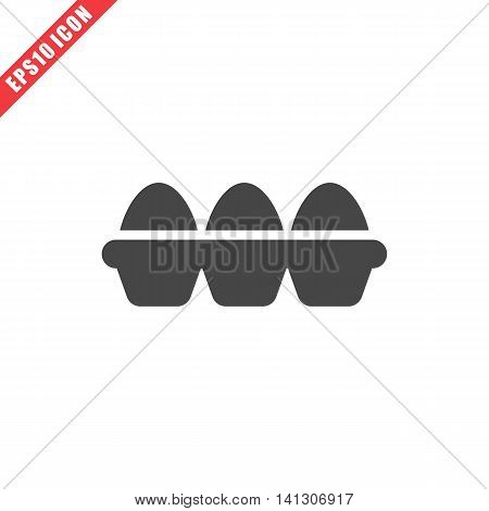 Vector illustration of tray of eggs icon on white background. Simple black food image