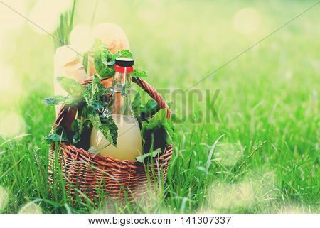 Picnic Wattled Basket Mint Drink Fresh Bread Grass