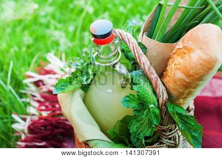 Drink Greens Picnic Basket Baguette Onions Country