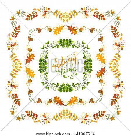 Vector Autumn Leaves Frames.