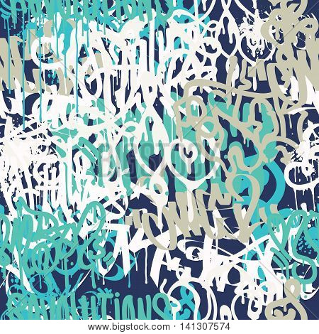 Colorful seamless pattern. Graffiti hand style old school doodles street art illustration. Composition with tags, signs, elements for skate board, street clothing streetwear wallpapers textile fabric