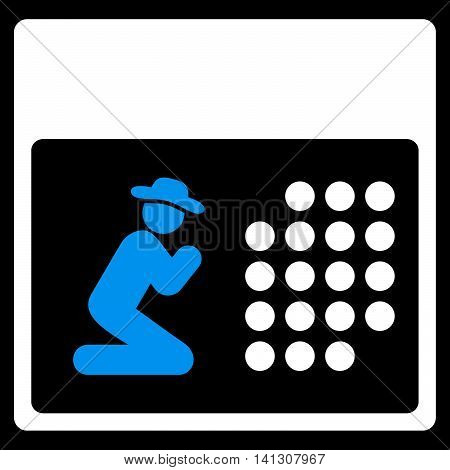 Pray Organizer vector icon. Style is bicolor flat symbol, blue and white colors, rounded angles, black background.