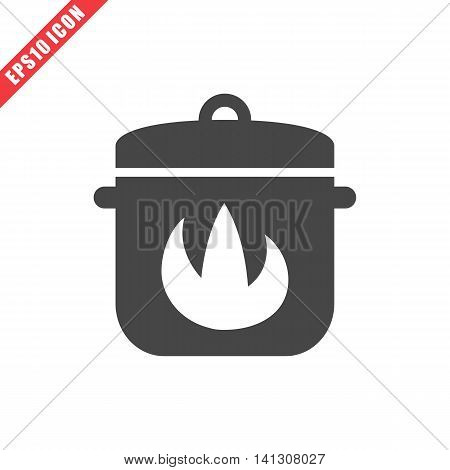 Vector illustration of cooking pan icon on white background. Simple black kitchenware image