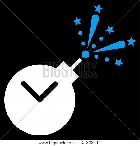 Time Fireworks Charge vector icon. Style is bicolor flat symbol, blue and white colors, rounded angles, black background.