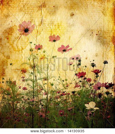 alt und abgenutzt Blume Papierhintergrund Textur