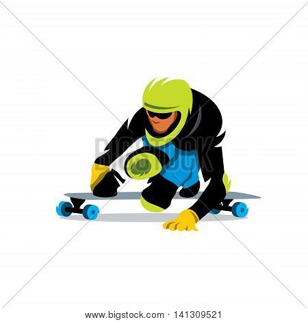 Downhill skateboarder in action on a asphalt road. Isolated on a white background