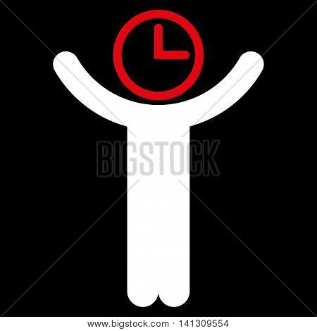 Time Manager vector icon. Style is bicolor flat symbol, red and white colors, rounded angles, black background.