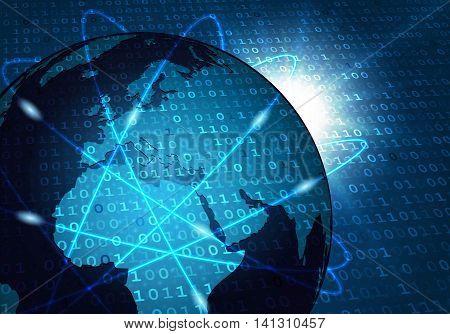 Global communication network. Global traffic communication networking connection concept.