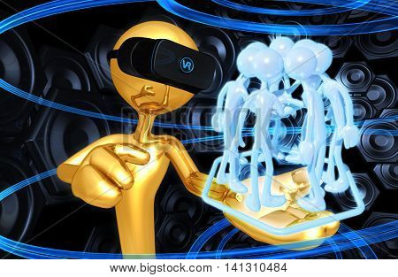 Virtual Reality VR Team 3D Illustration