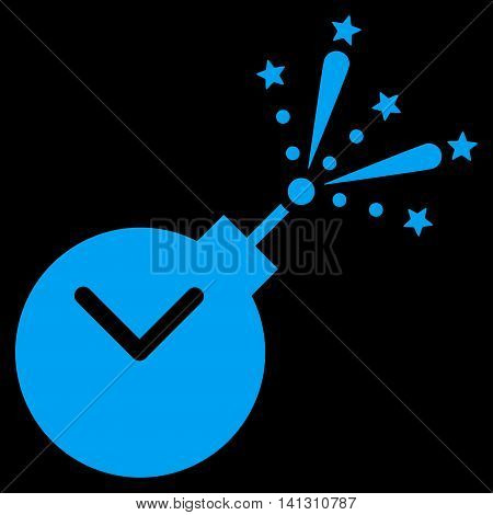 Time Fireworks Charge vector icon. Style is flat symbol, blue color, rounded angles, black background.