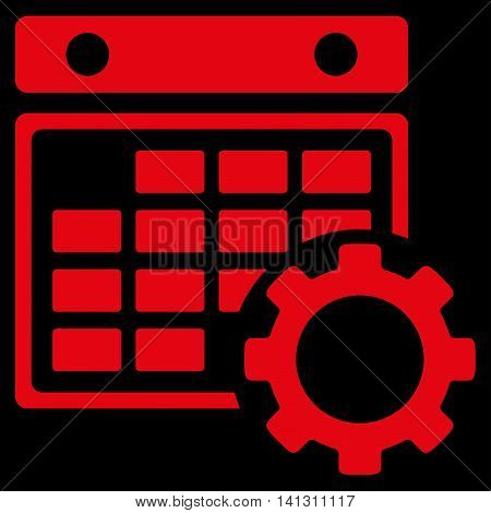Appointment Settings vector icon. Style is flat symbol, red color, rounded angles, black background.