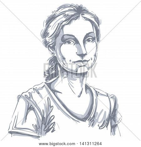 Artistic hand-drawn vector image black and white portrait of delicate loving peaceful girl.